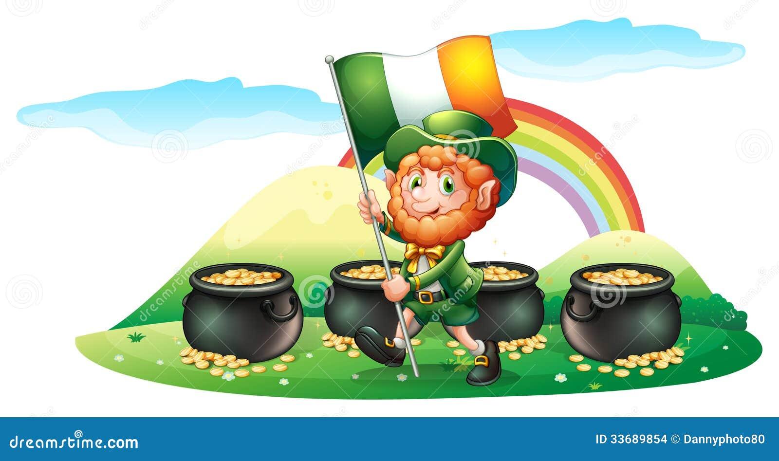 Vier Töpfe Münzen An Der Rückseite Eines Mannes Mit Der Irland