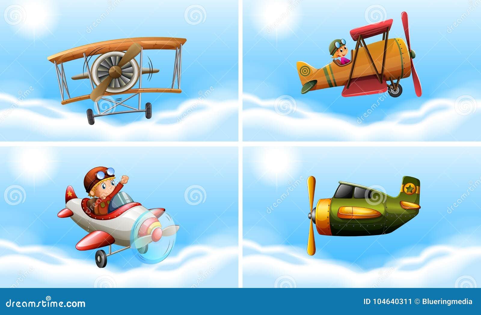 Download Vier types van vliegtuigen vector illustratie. Illustratie bestaande uit vlucht - 104640311