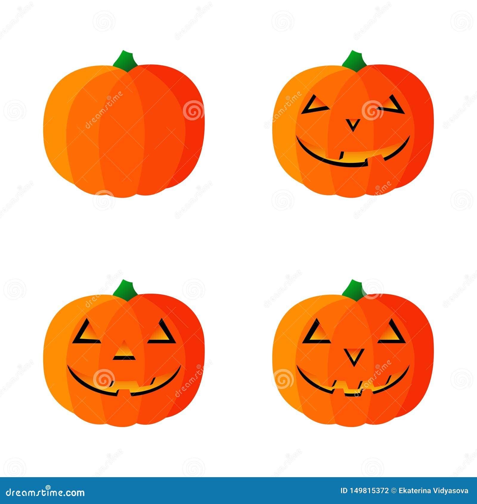 Vier vectorpompoenpictogrammen voor Halloween Vector illustratie Ge?soleerdj op witte achtergrond
