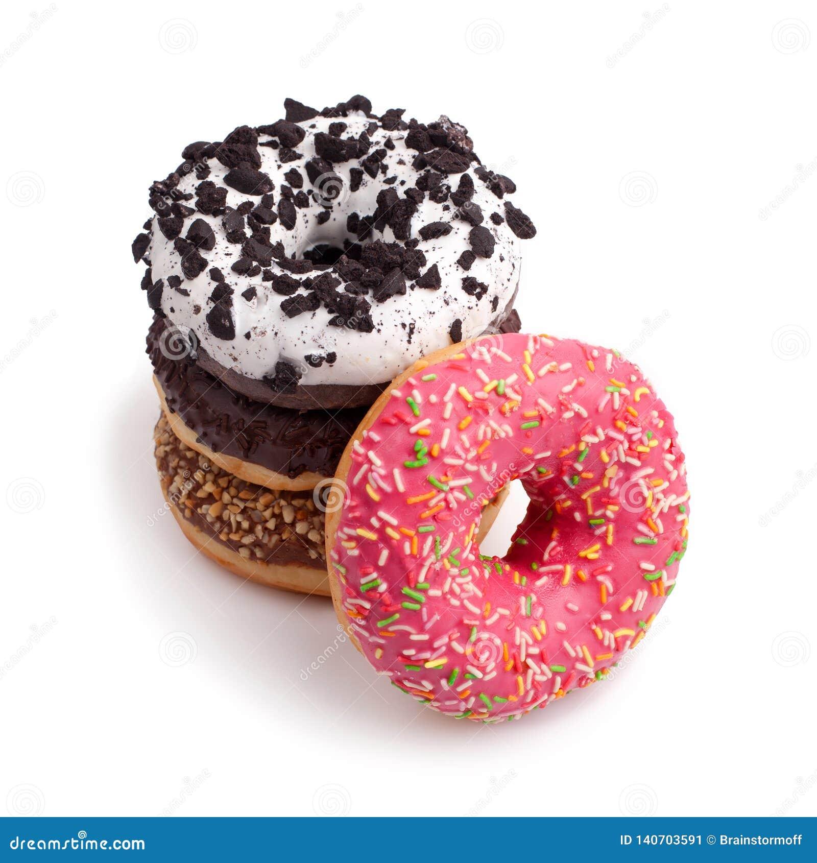 Vier verschillende donuts op witte hoogste mening als achtergrond