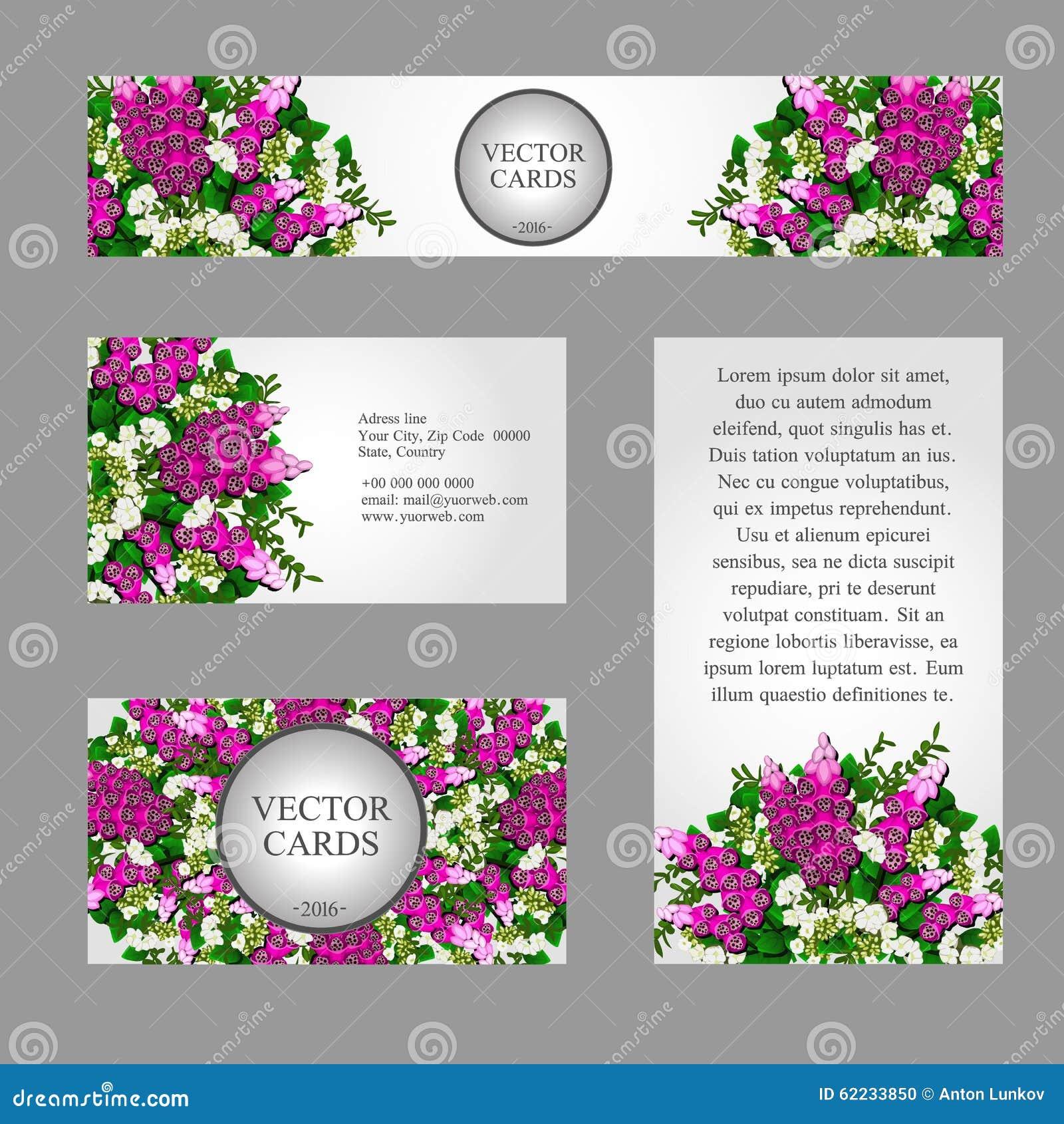 Vier Visitenkarten Mit Den Weißen Und Rosa Blumen Vektor