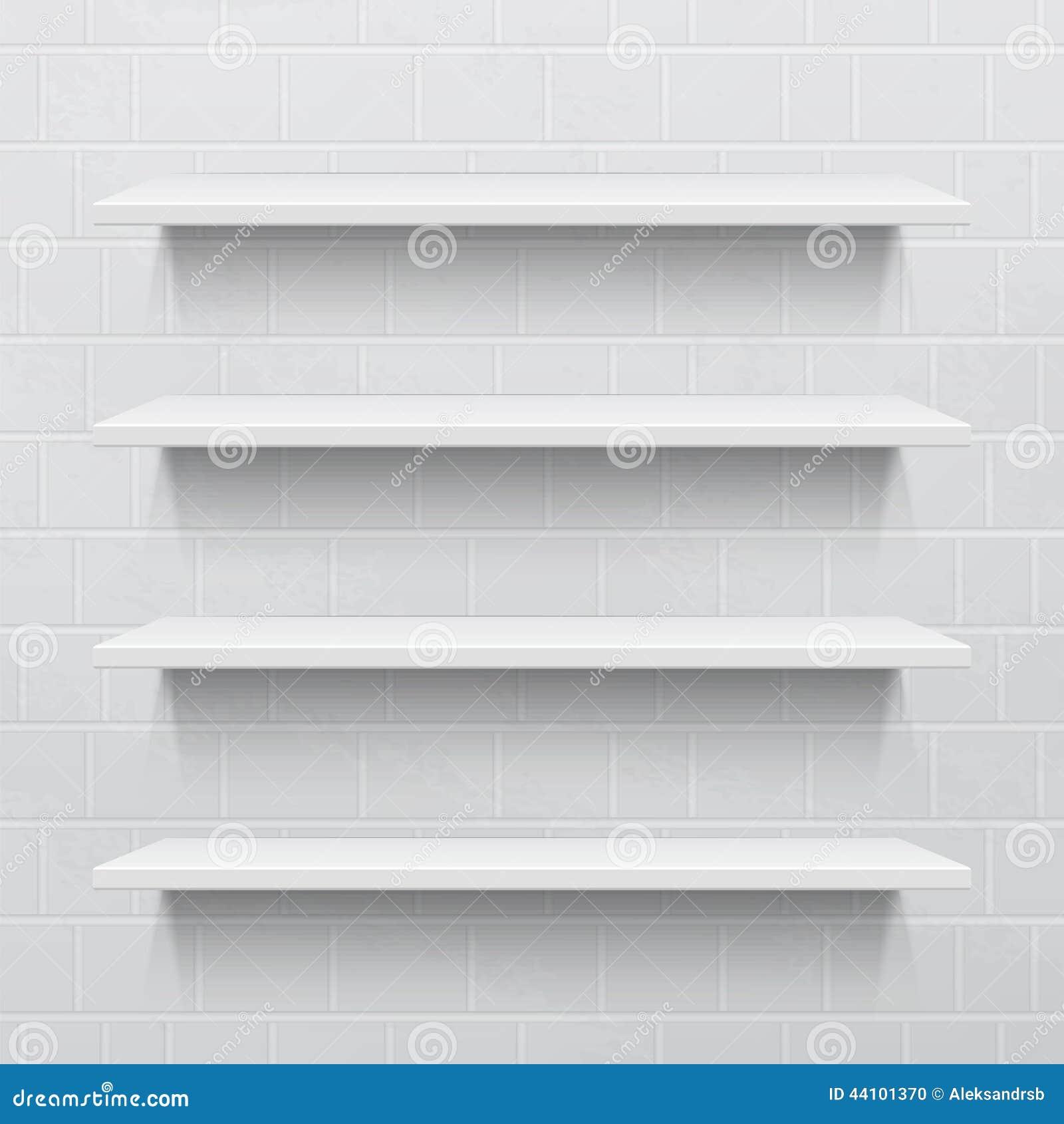 Planken Tegen Muur.Vier Witte Realistische Planken Tegen Bakstenen Muur Vector