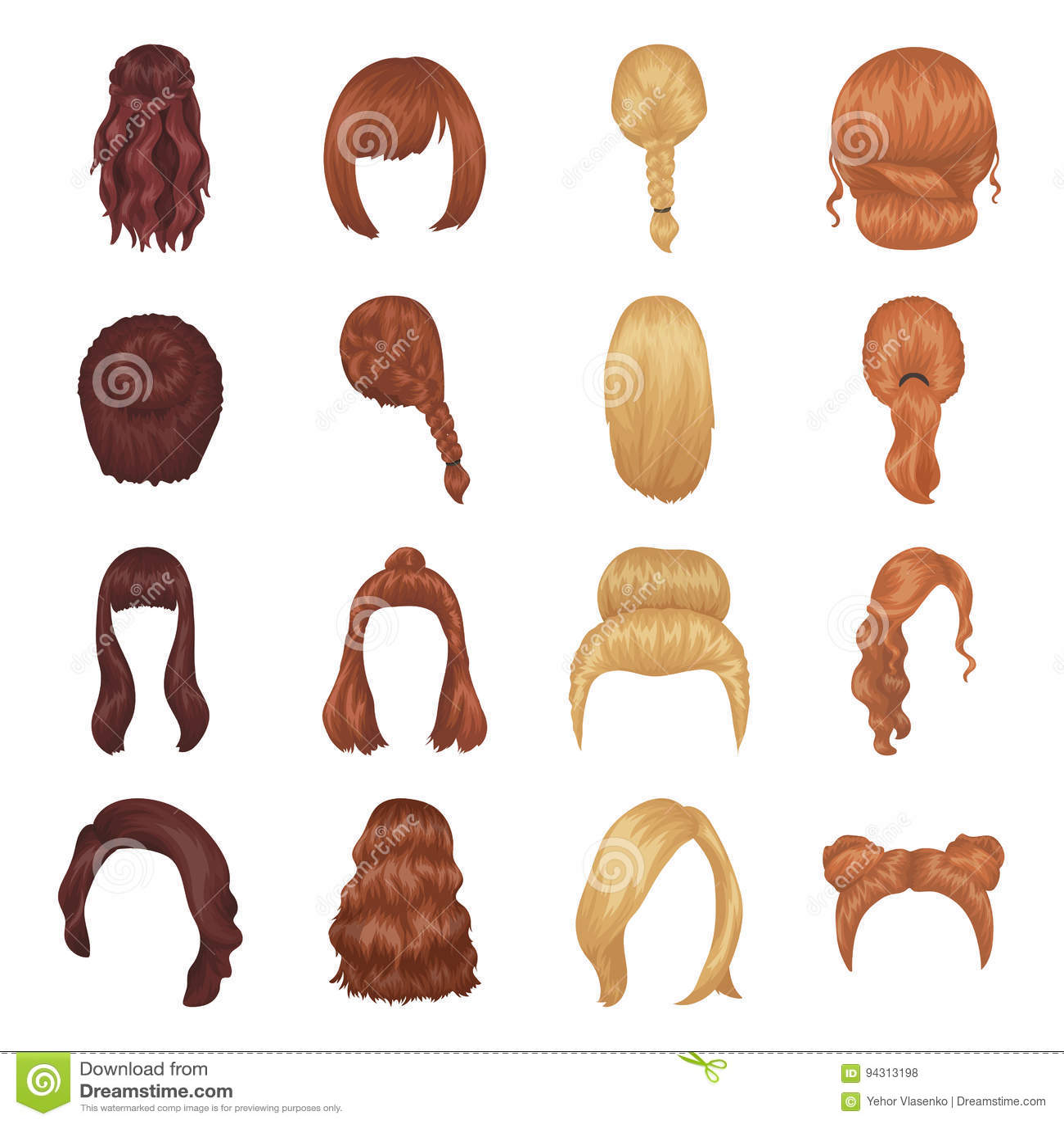 Viererkabel Blonde Zopfe Und Andere Arten Frisuren Vector Gesetzte