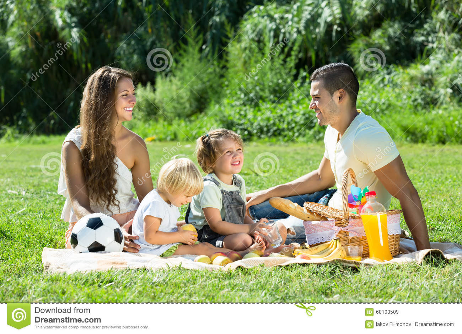 Vierköpfige Familie auf Picknick