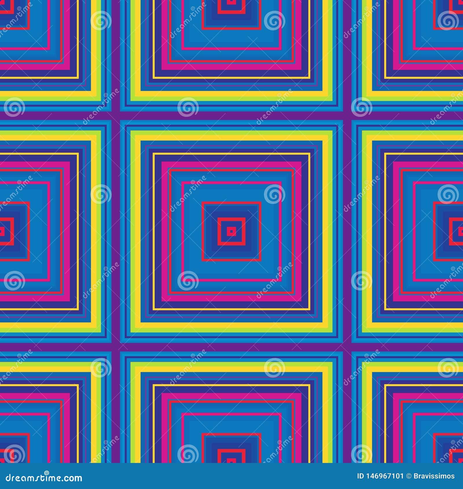 Vierkant hypnotic patroon, geometrische illusie Abstracte naadloos