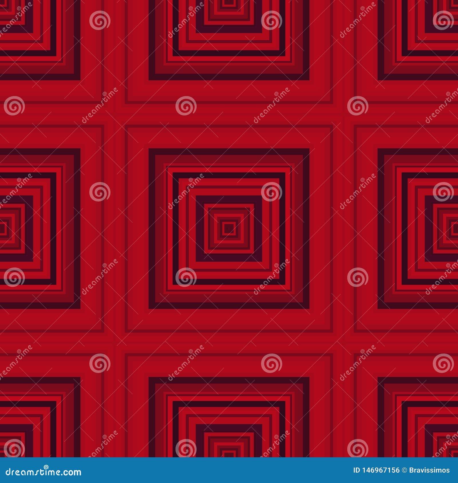 Vierkant hypnotic patroon, geometrische illusie herhaalde kunst