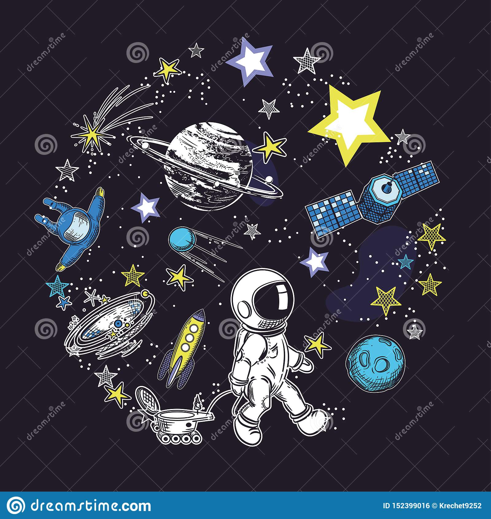Vierkant kaartmalplaatje met het beeld van kosmische elementen Cirkelsamenstelling Ruimtevoorwerpen