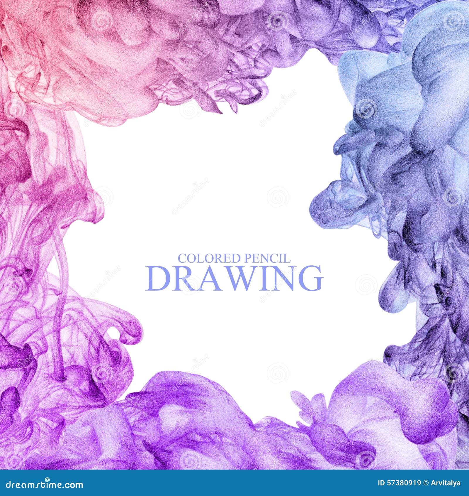 Vierkant kader met abstracte die wolk van inkt met de hand met kleur wordt getrokken