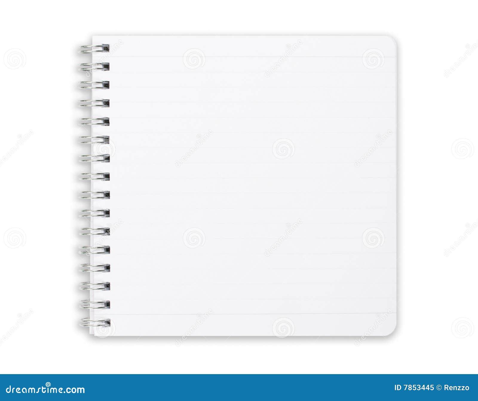 Vierkant notitieboekje dat op wit wordt geïsoleerdw.