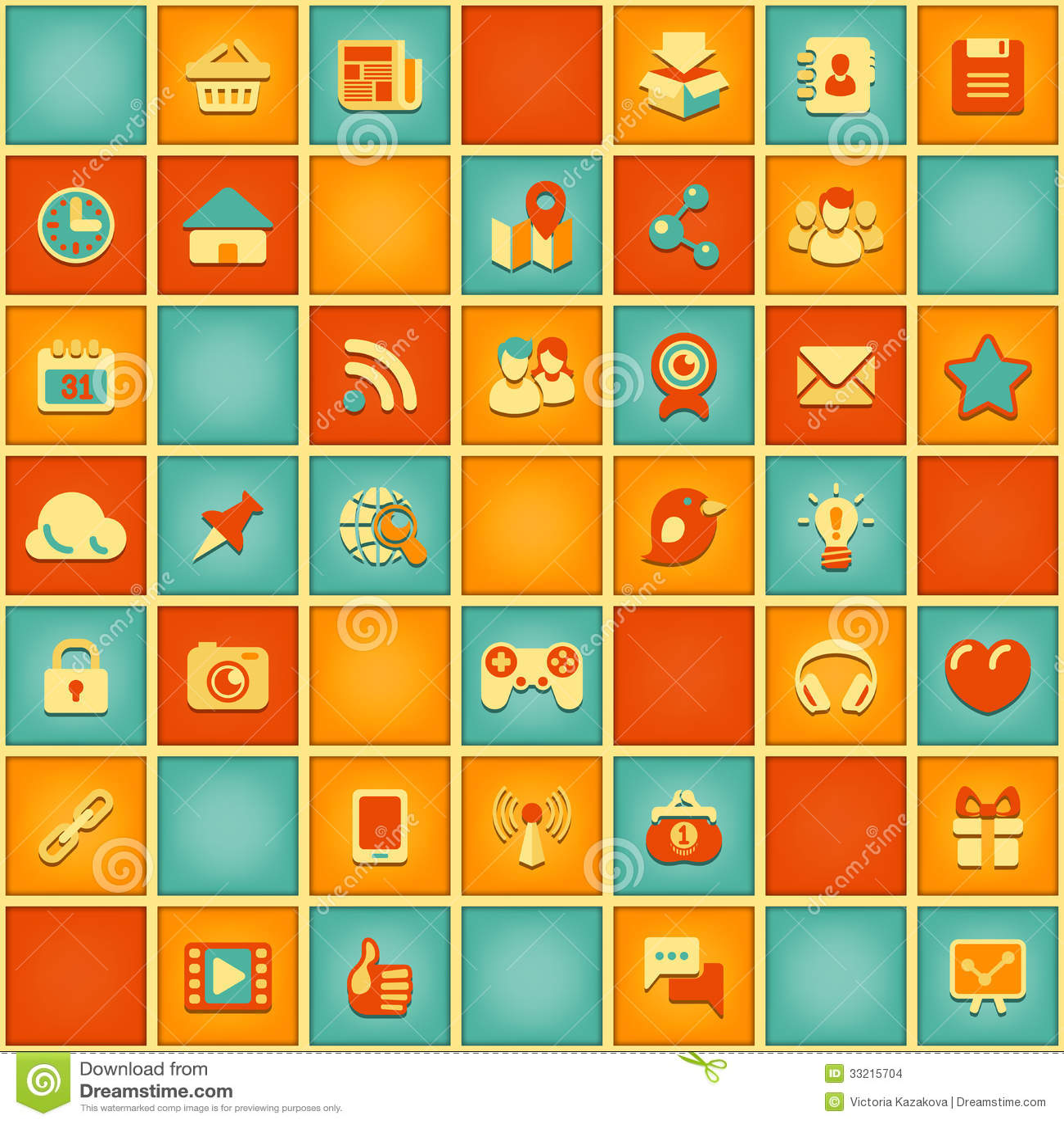 Vierkant Patroon van Sociaal Voorzien van een netwerk in Retro Kleuren