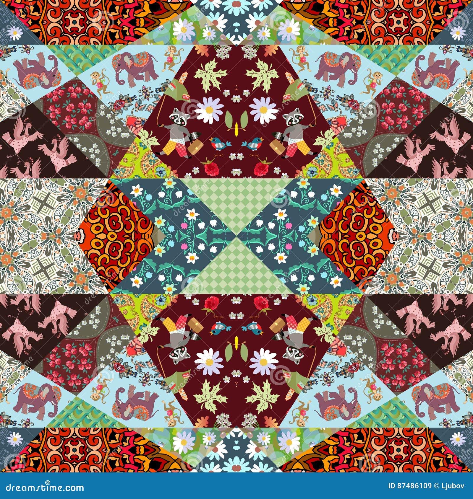 Kinder Quilt Patronen.Vierkante Lapwerkdeken Met Leuke Dieren Bloemen En Abstracte