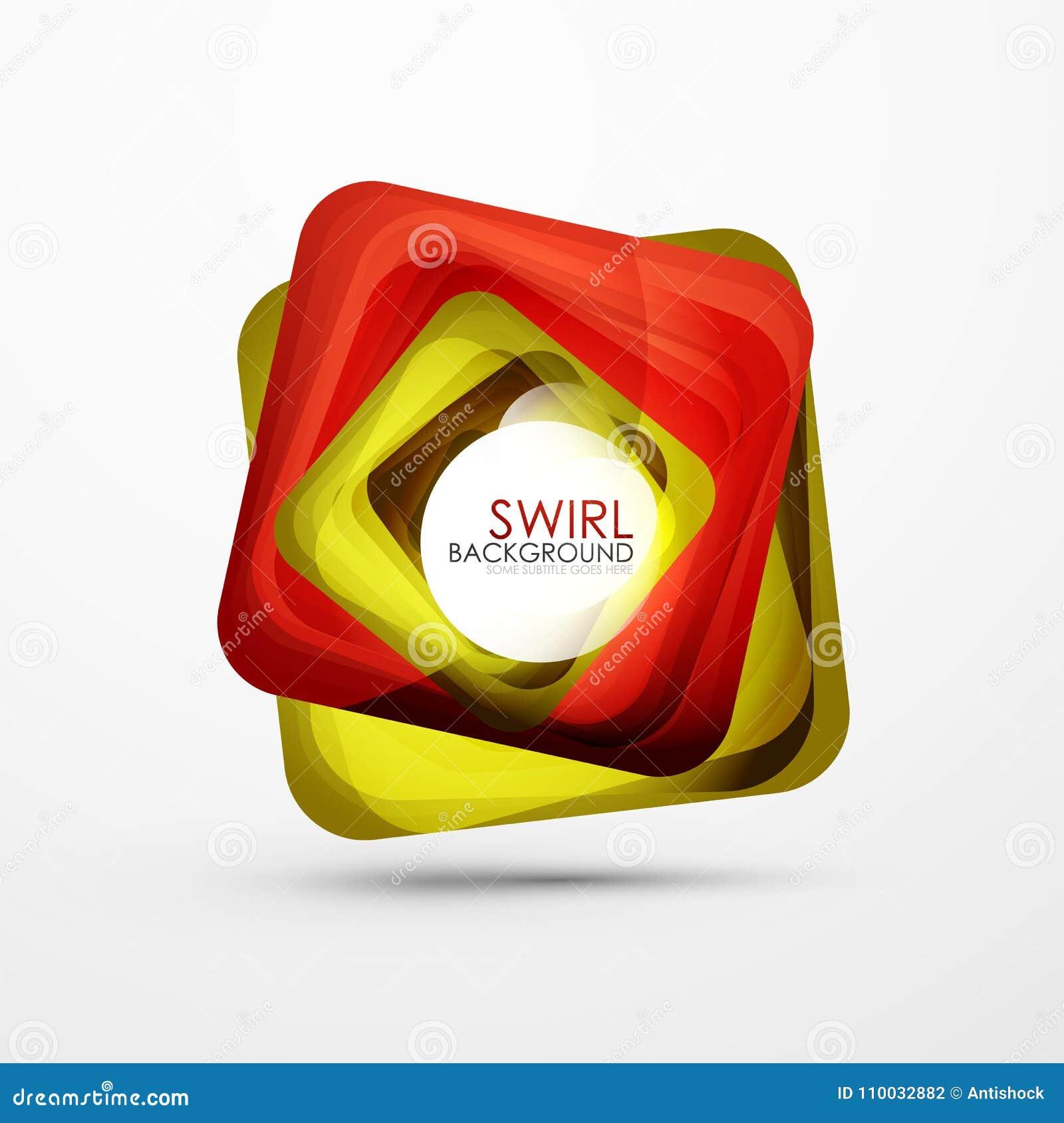 Vierkante wervelings abstracte banner