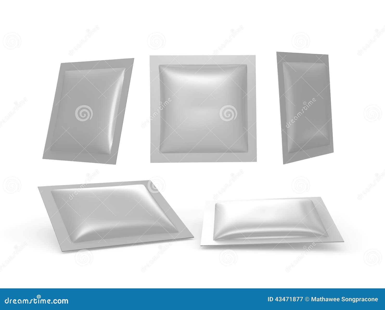 Vierkante zilveren foliehitte - verzegeld pakket met het knippen van weg