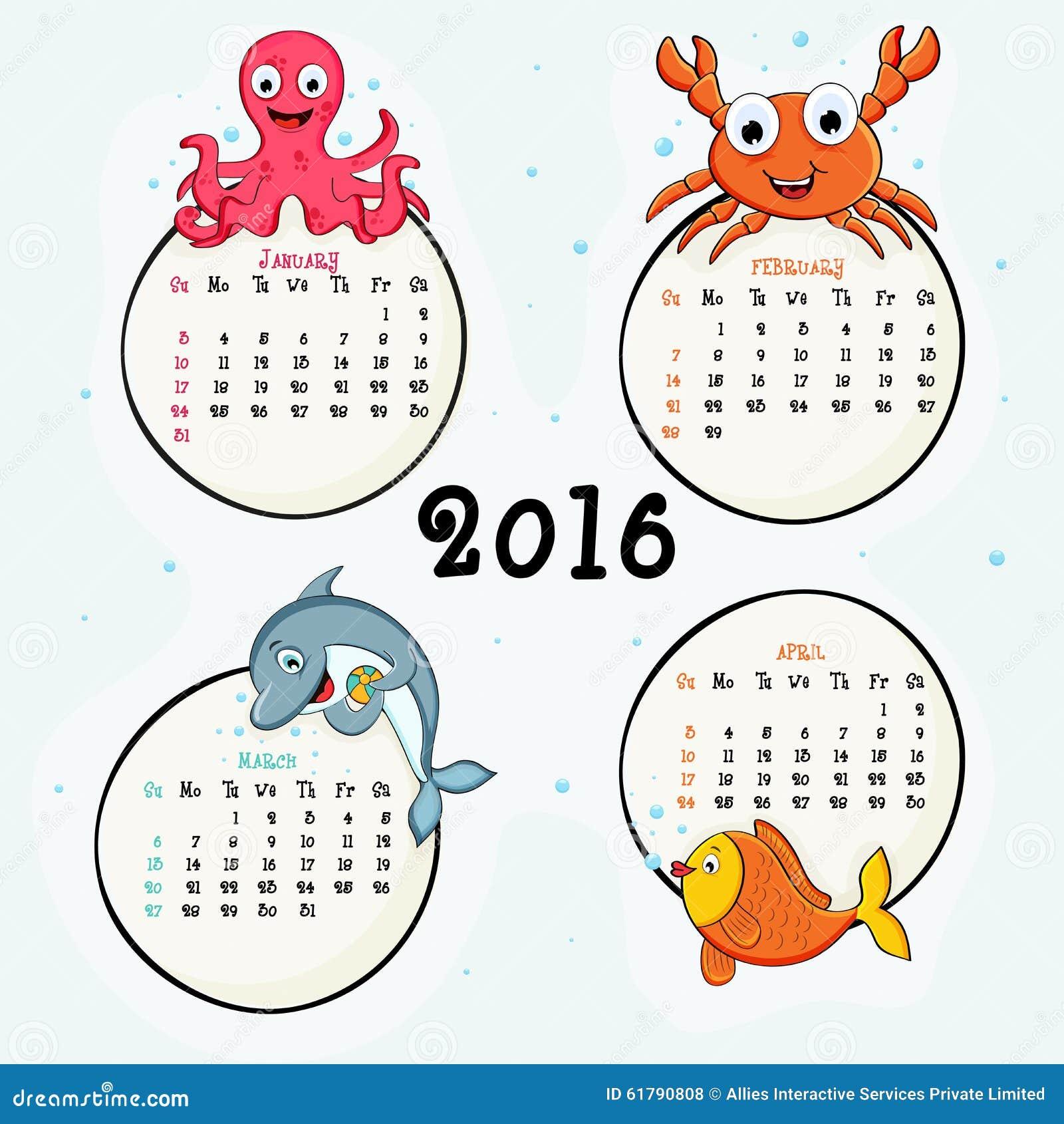 viermonatlicher kalender von 2016 stock abbildung. Black Bedroom Furniture Sets. Home Design Ideas