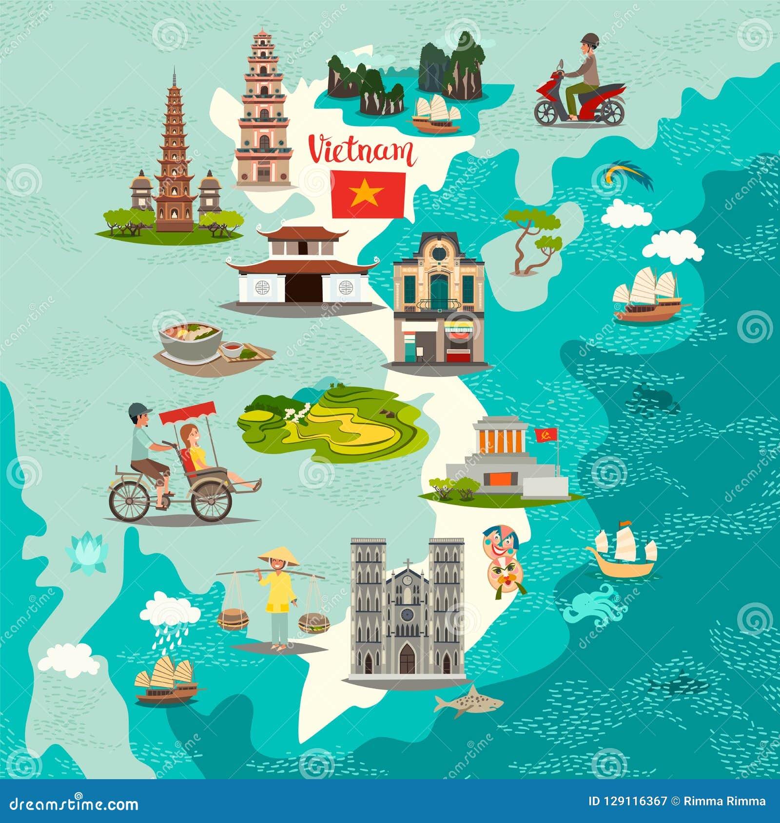 Vietnam Abstract Map, Hand Drawn Vector Illustration. Stock Vector ...