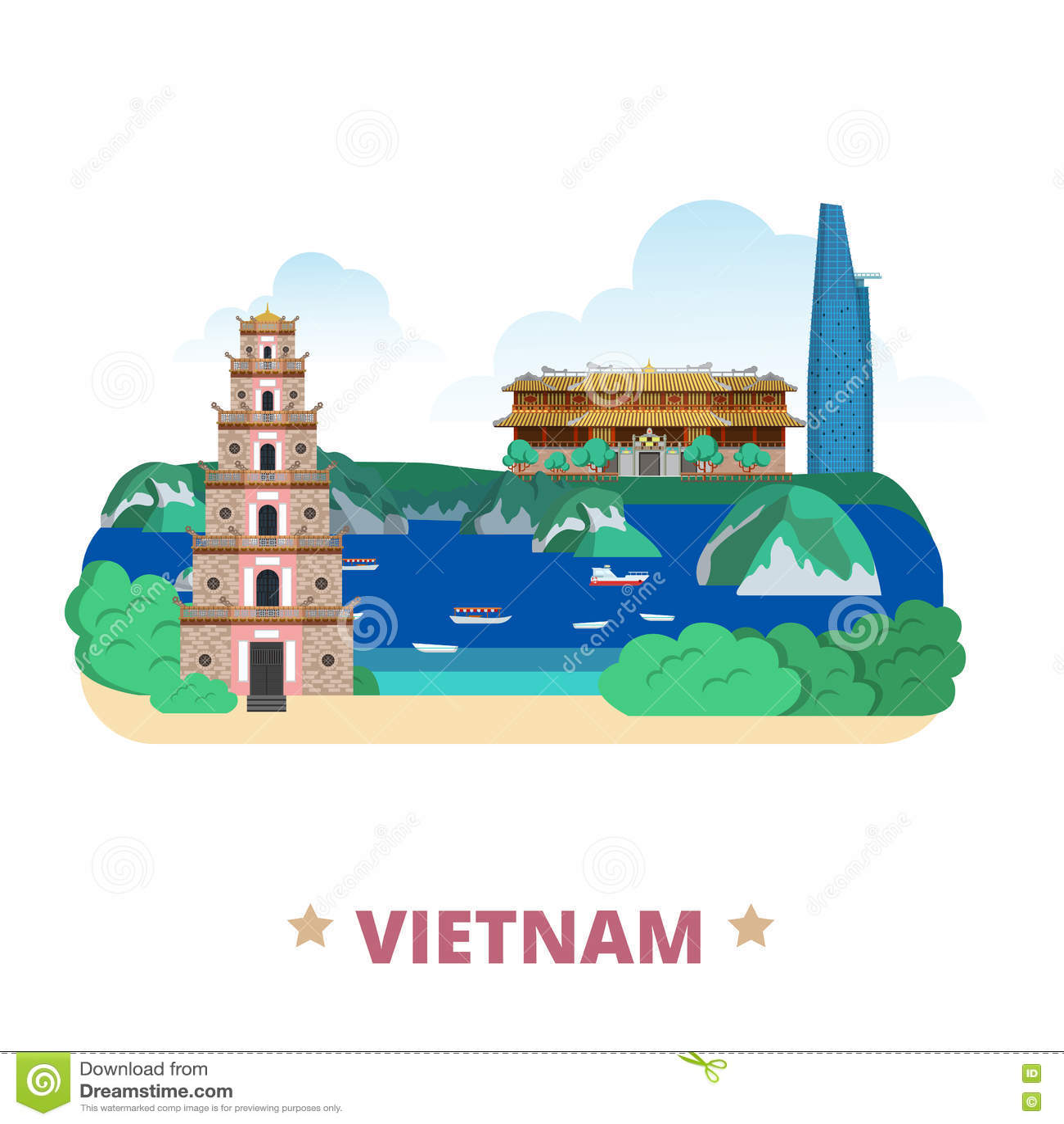 Vietnam country design template Flat cartoon style