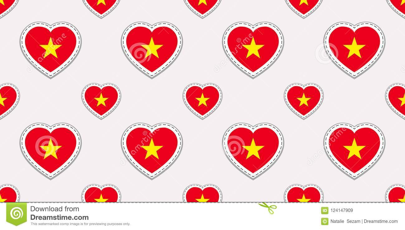 Vietnam Flag Seamless Pattern Vector Vietnamese Flags Stickers Love Hearts Symbols Texture For Language Courses Stock Vector Illustration Of Hanoi Nation 124147909