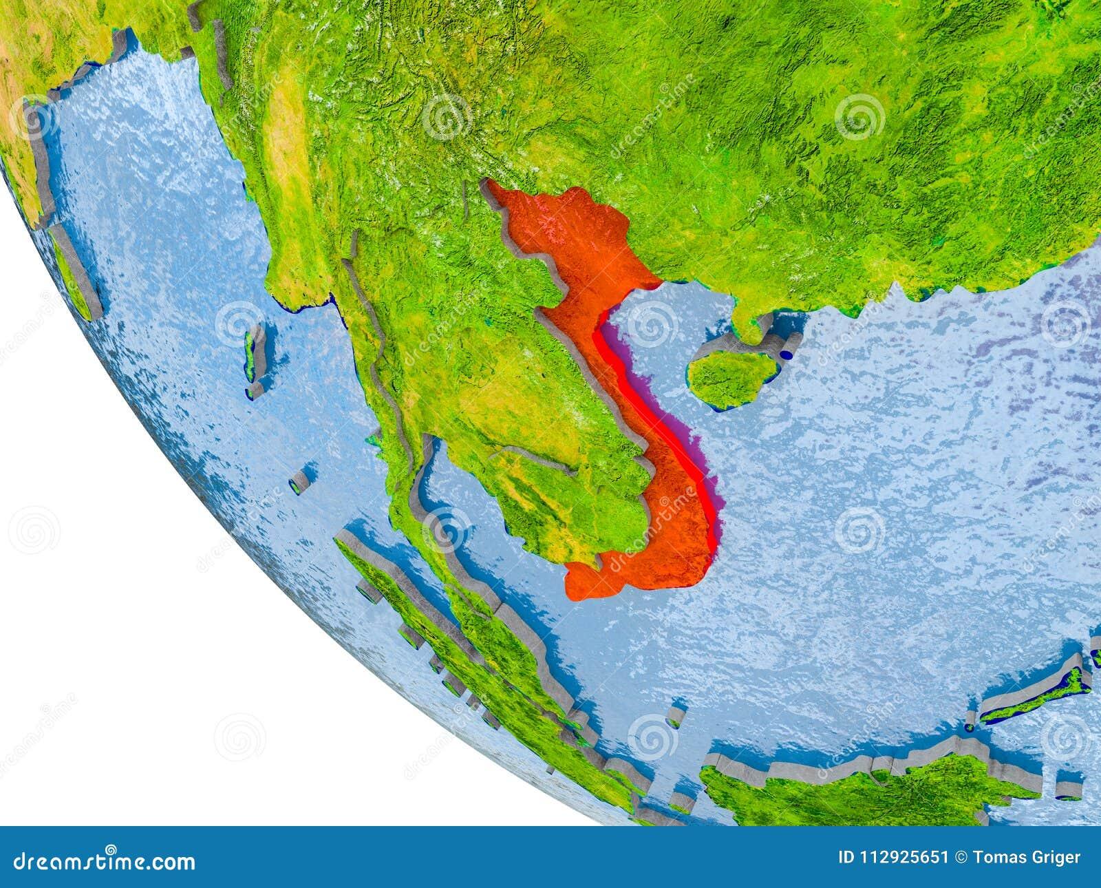 Vietnam on globe stock illustration Illustration of geography