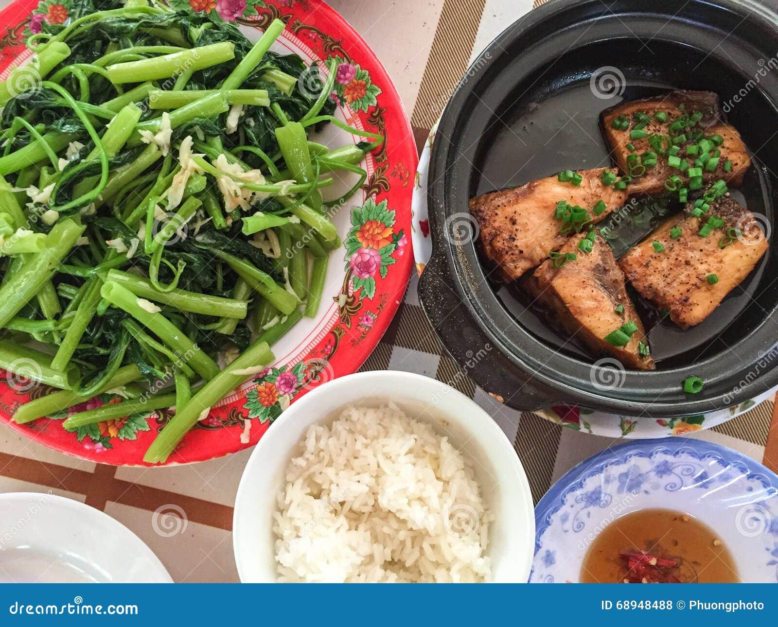 Vietnam Küche | Vietnam Kuche Fische Und Gemuse Mit Reis Stockfoto Bild Von