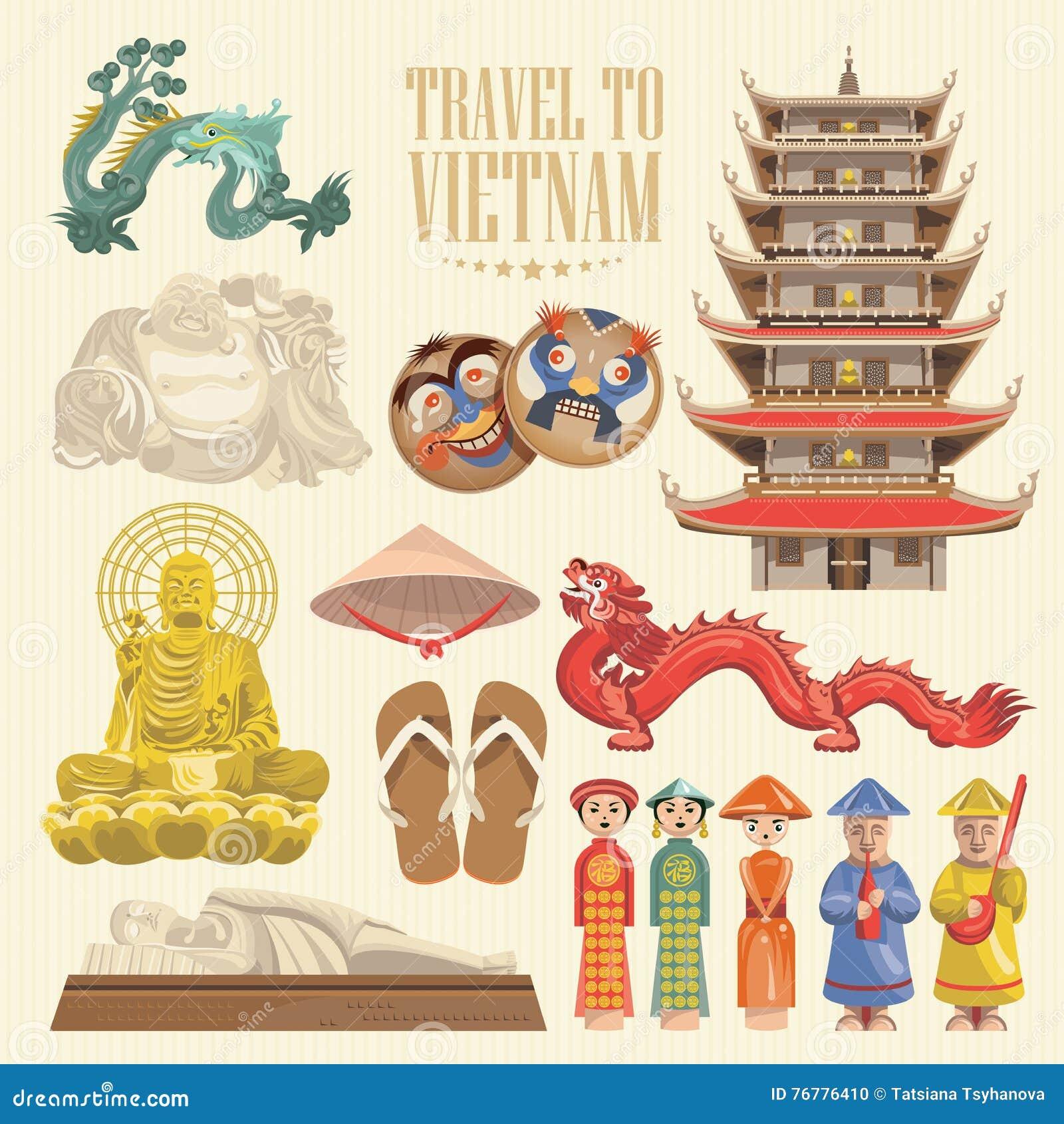 Vietnamkrieg Karte.Vietnam Karte Mit Vietnamesischen Traditionellen Gegenständen Vektor