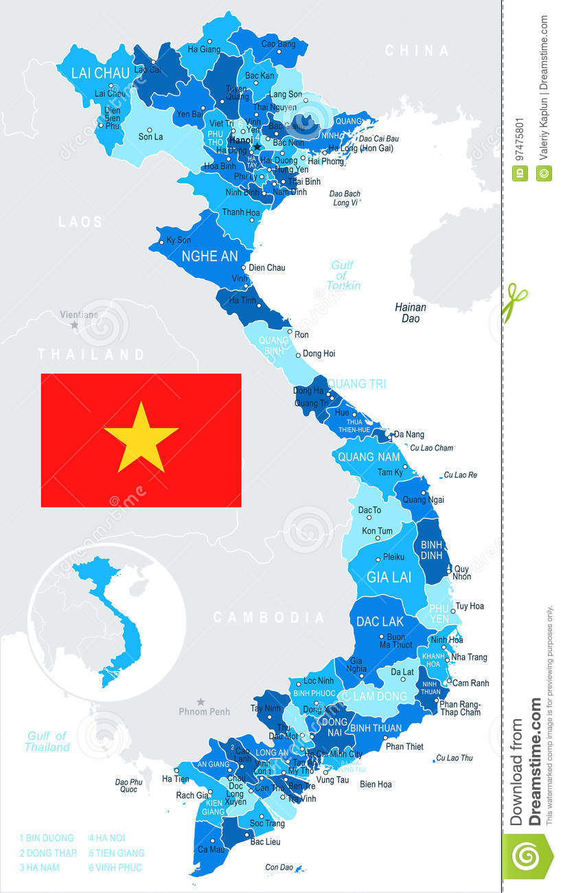 Haiphong Vietnam Map.Vietnam Map And Flag Illustration Stock Illustration