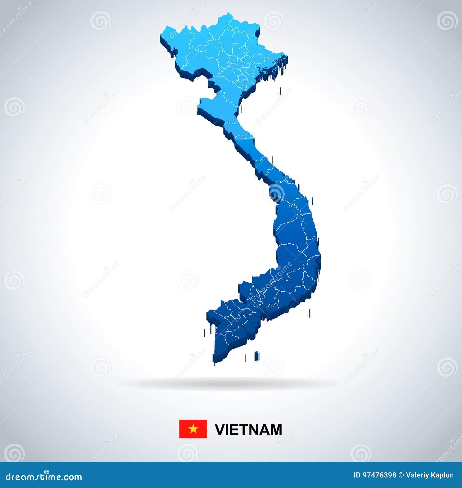 Vietnam Map And Flag Illustration Stock Illustration
