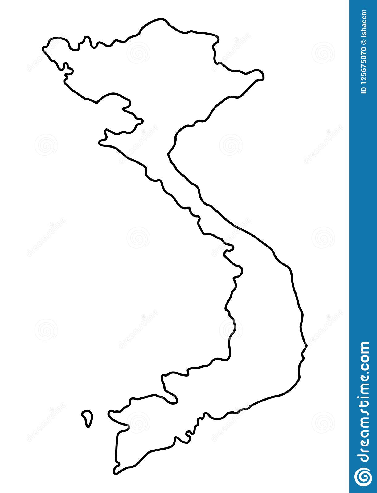 Vietnam Map Outline Vector Illustration Stock Vector - Illustration ...