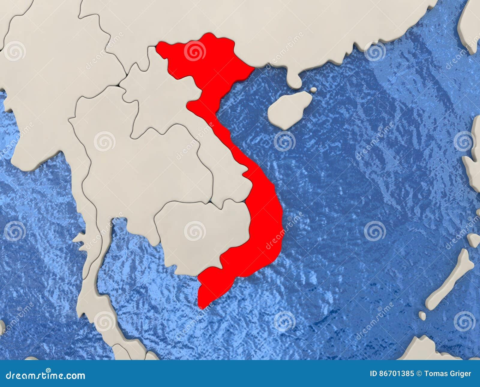 Vietnam on map stock illustration. Illustration of vietnam - 86701385