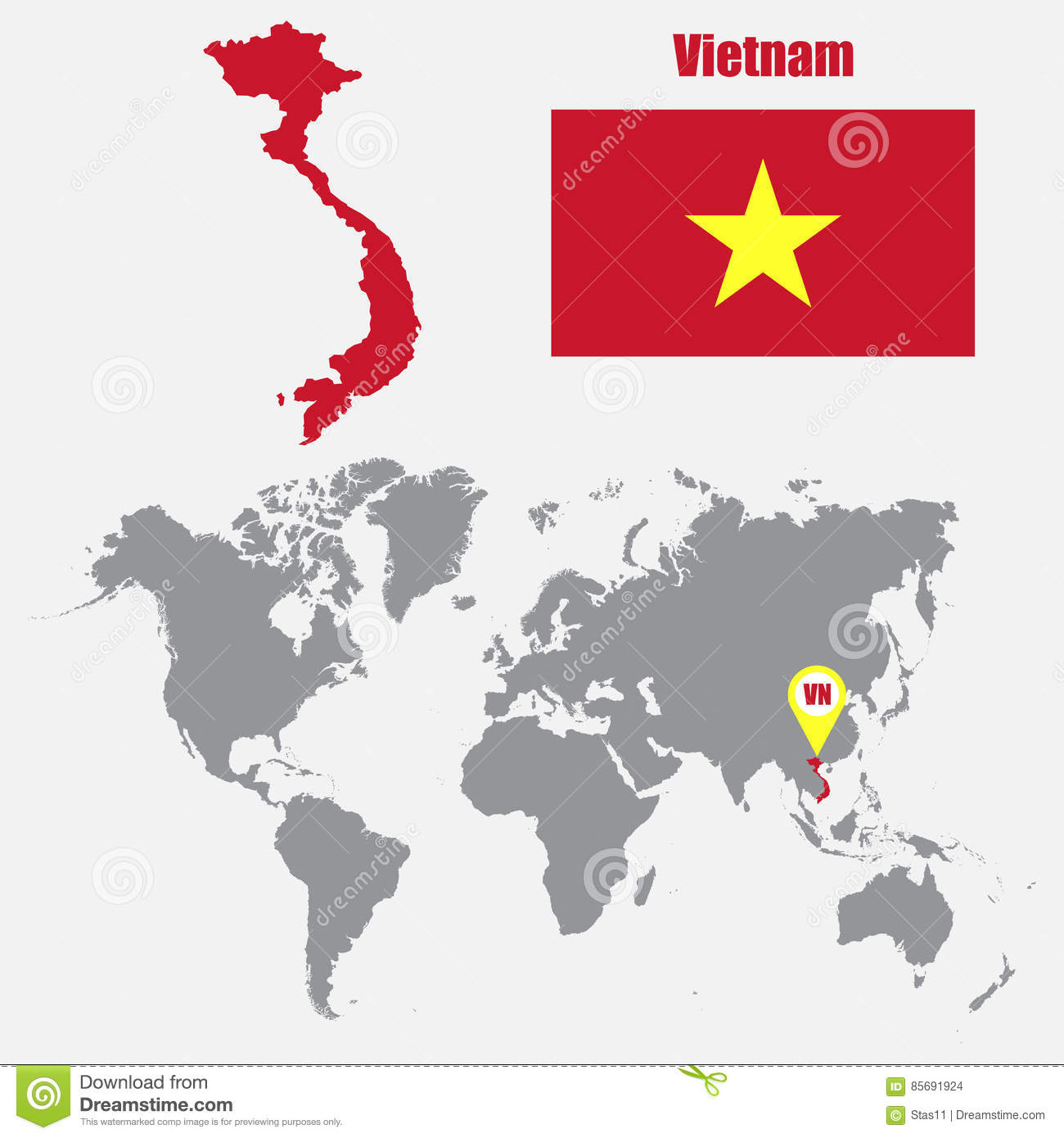 Vietnam Map On A World Map With Flag And Map Pointer. Vector ...