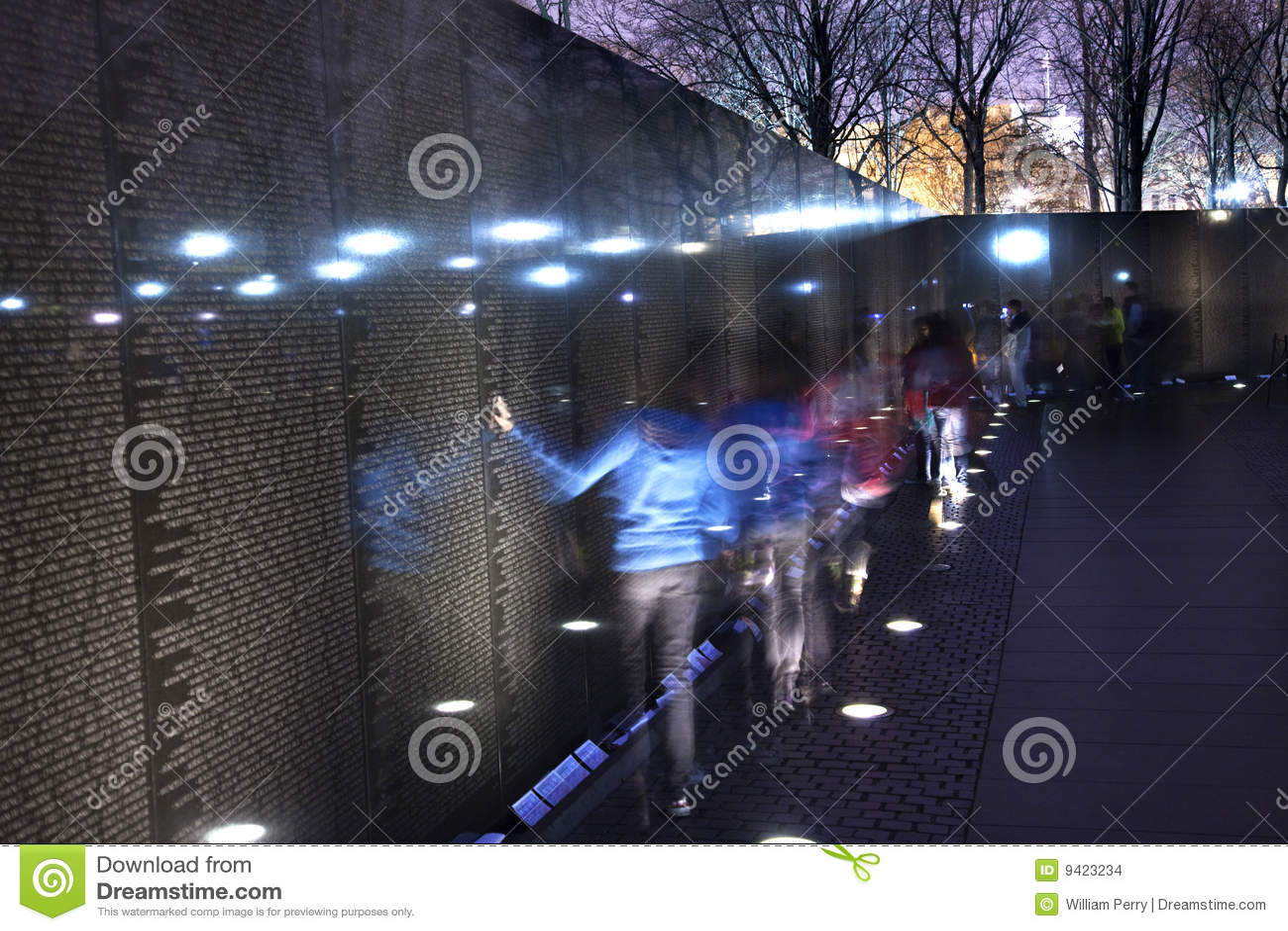 Vietnam Memorial Black Wall Night Washington Dc Stock