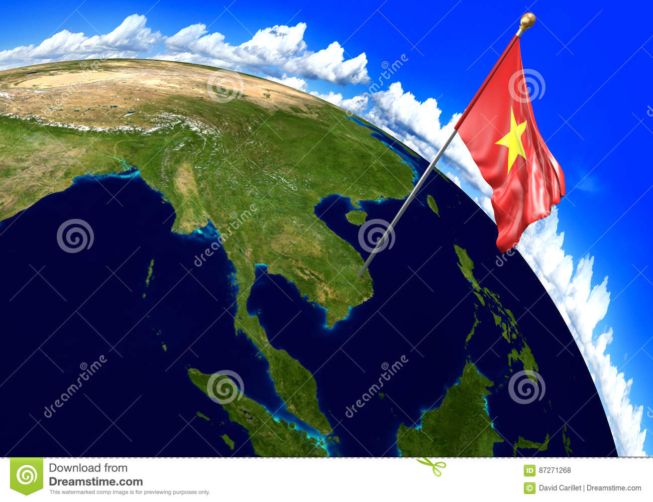 Vietnam National Flag Marking The Country Location On World Map. 3D ...