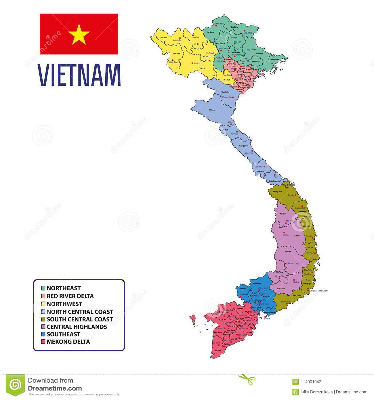 Vector Highly Detailed Political Map Of Vietnam With Regions And Their  Capitals. All Elements Are Separated In Editable Layers Clearly Labeled.  EPS 10