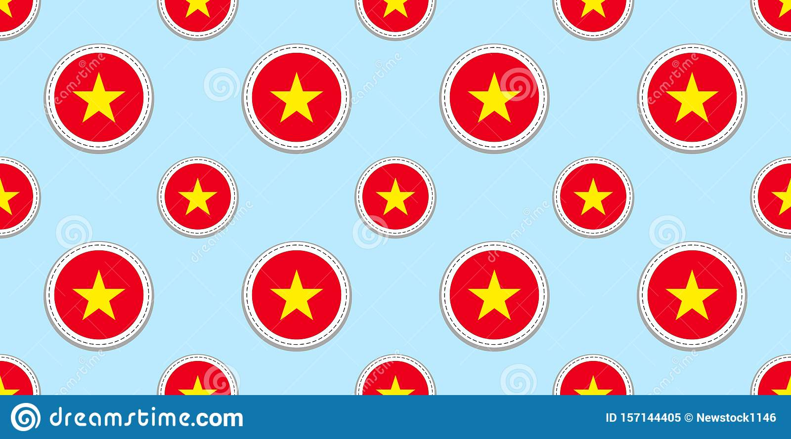 Vietnam Round Flag Seamless Pattern Vietnamese Background Vector Circle Icons Geometric Symbols Stickers Texture For Stock Vector Illustration Of State Sport 157144405