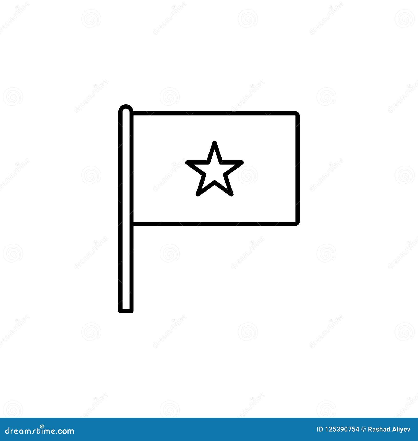 Vietnam symbol Beståndsdel av flaggasymbolen för mobila begrepps- och rengöringsdukapps Den tunna linjen den Vietnam symbolen kan