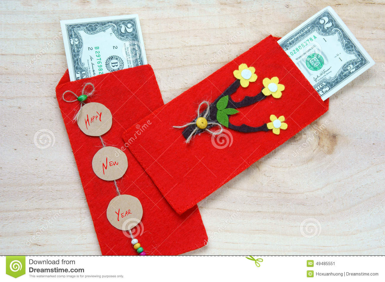 ... happy new year, receive red envelope with new small change, Tet on