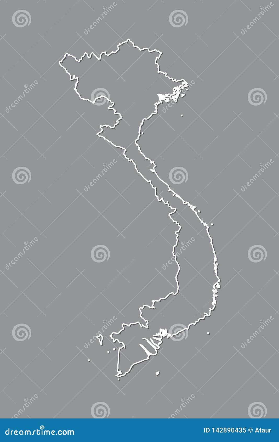 Vietnam-Vektorkarte mit einzelner Grenze Grenze unter Verwendung der weißen Farbe auf dunkler Hintergrundillustration