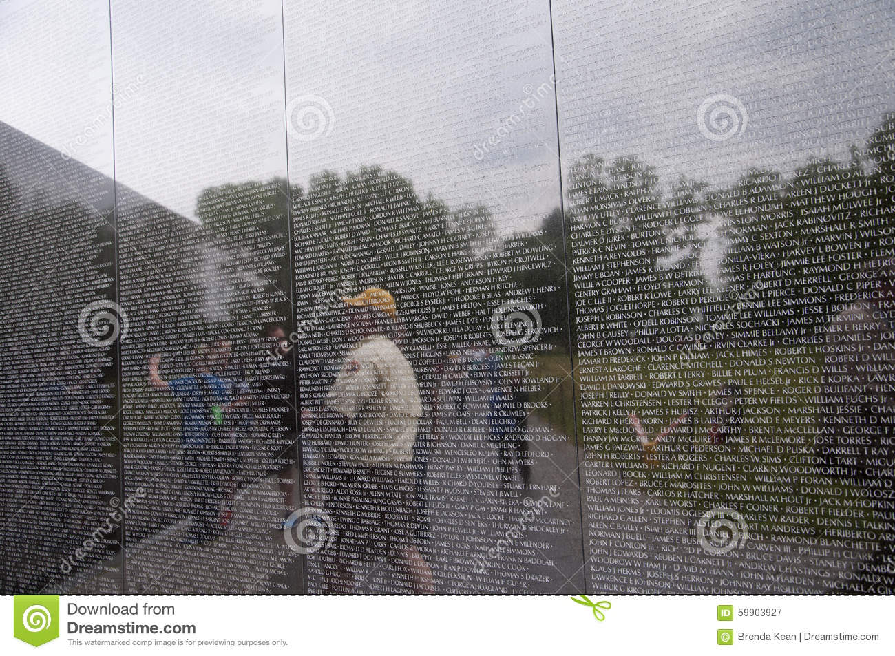 The Vietnam Wall With The Names Of The Fallen In