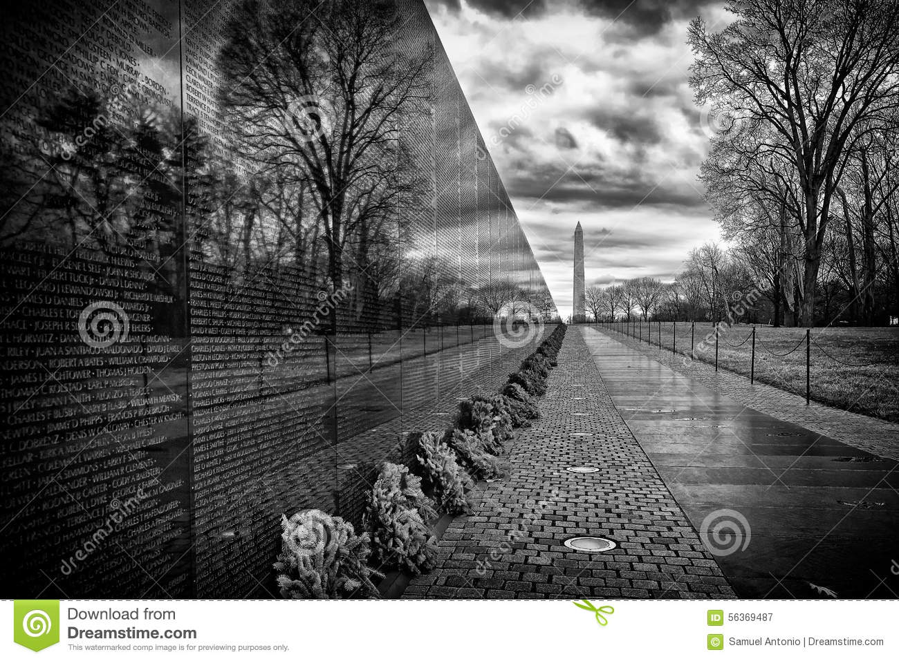 Vietnam War Memorial Sunrise Washington Dc Usa