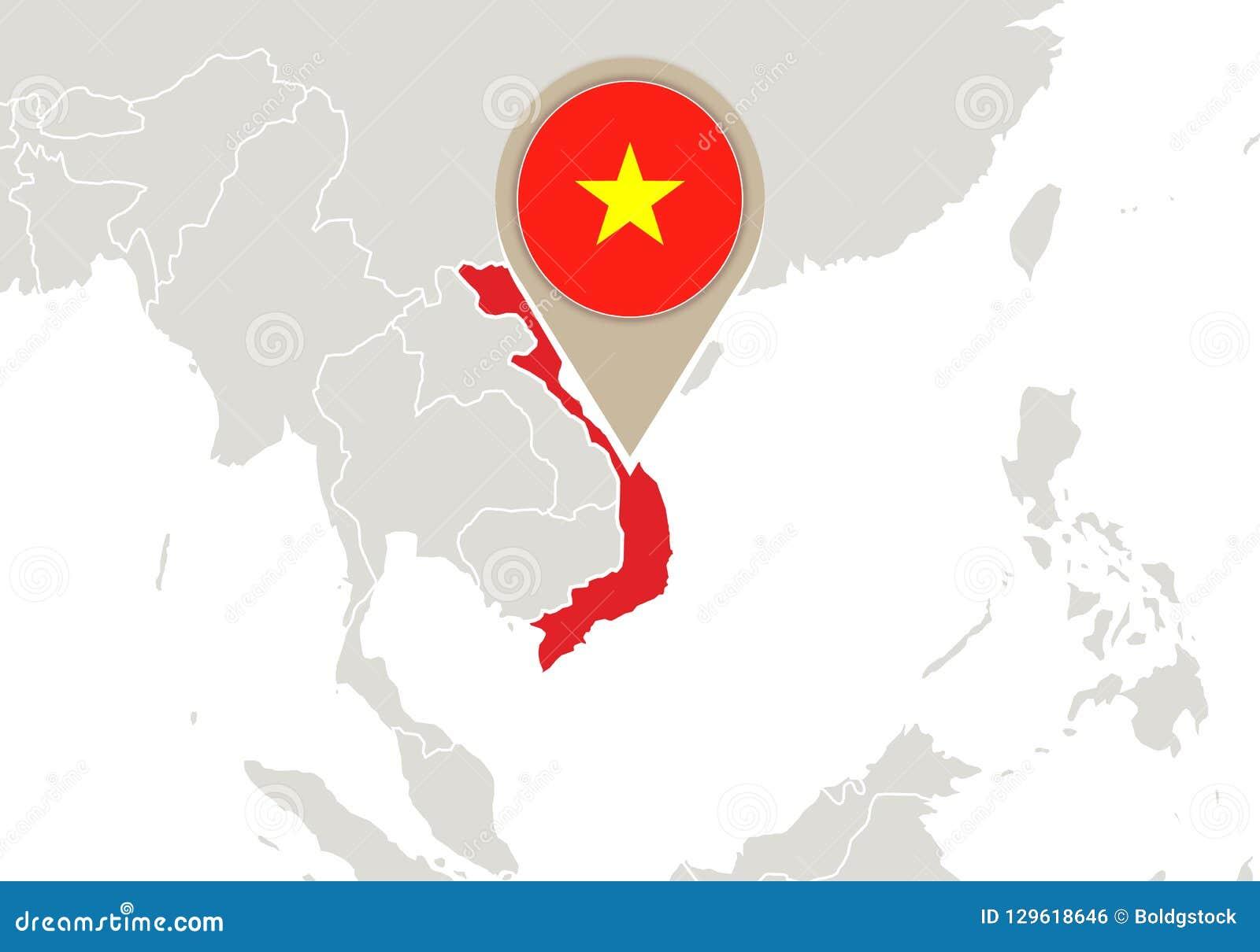 Vietnam on World map stock vector. Illustration of national ...
