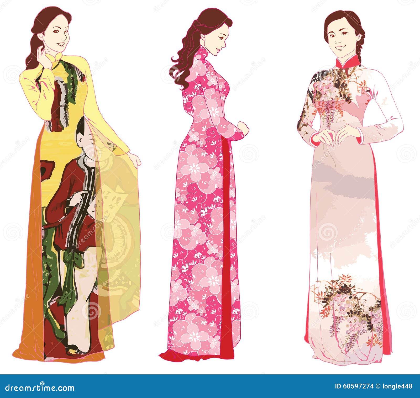 Vietnamese ao dai stock vector. Illustration of culture - 60597274