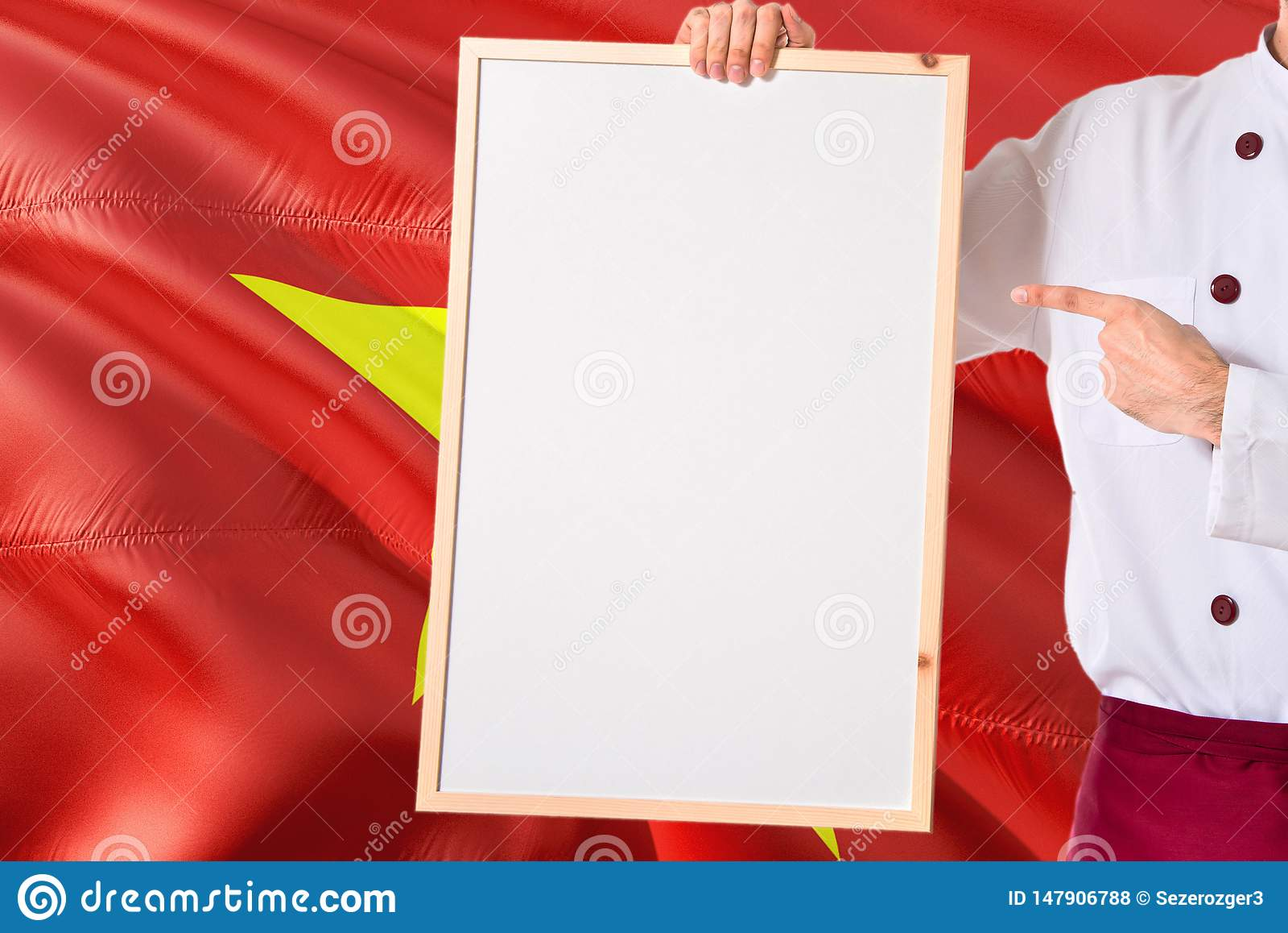Vietnamese Chef Holding Blank Whiteboard Menu On Vietnam
