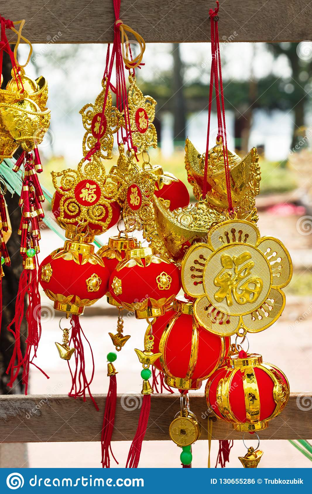 Vietnamese And Chinese New Year Decorations Red And Gold ...