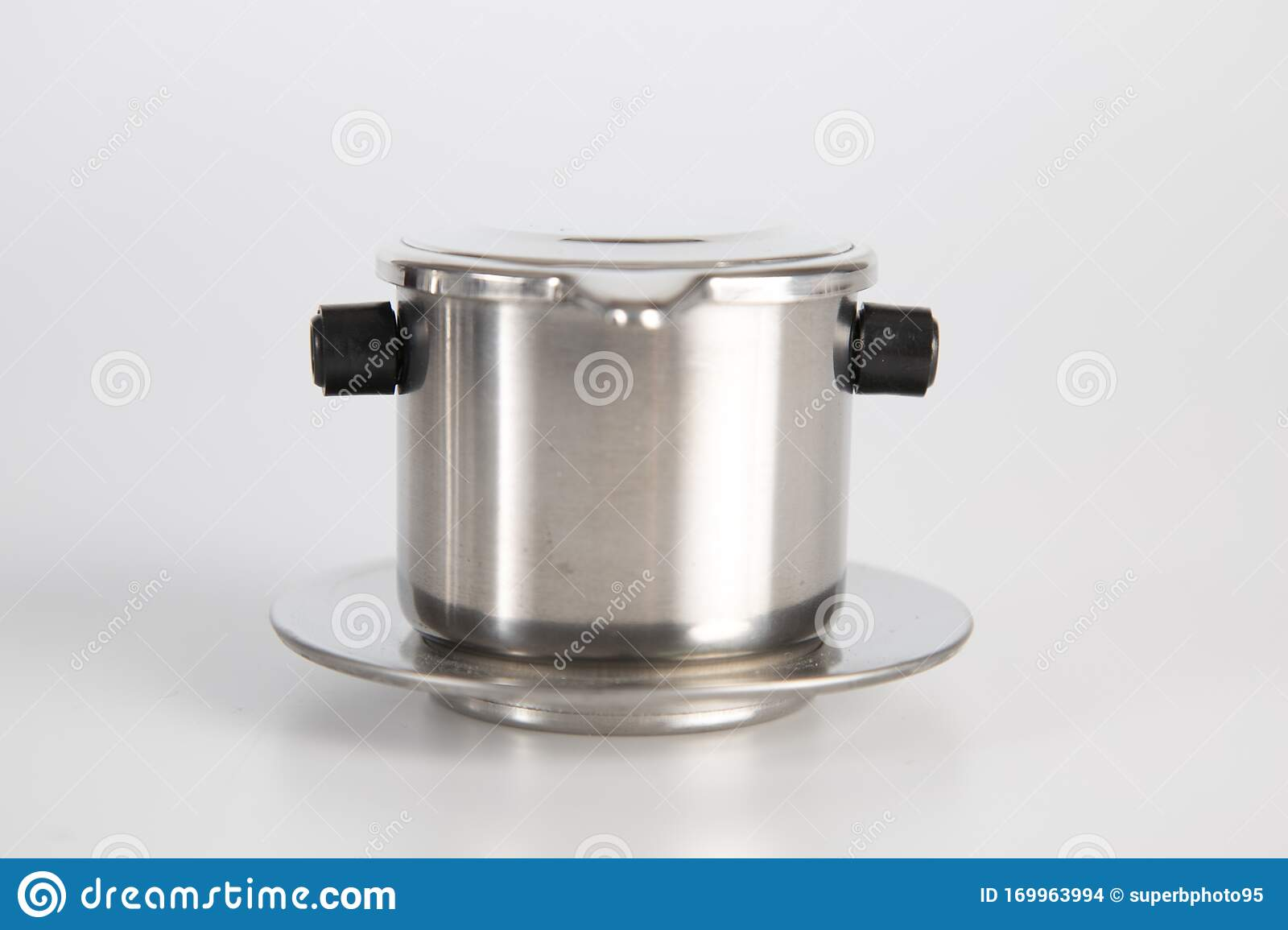 Vietnamese Coffee Press On White Background Metallic Coffee Filter Cup Brewing Coffee In Vietnam Stainless Steel Single Cup Stock Photo Image Of Brewing Maker 169963994