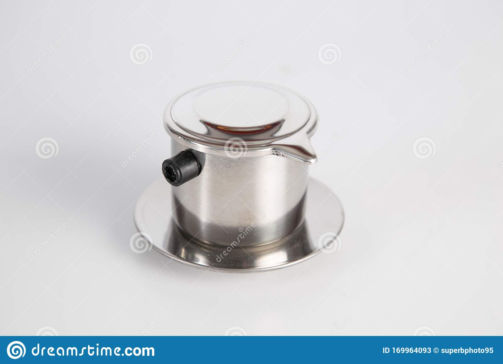 Vietnamese Coffee Press On White Background Metallic Coffee Filter Cup Brewing Coffee In Vietnam Stainless Steel Single Cup Stock Image Image Of Brown Container 169964093