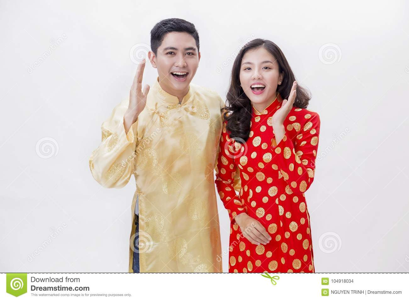 f4071398d Vietnamese Couple Smiling Wearing Ao Dai Stock Photo - Image of year ...