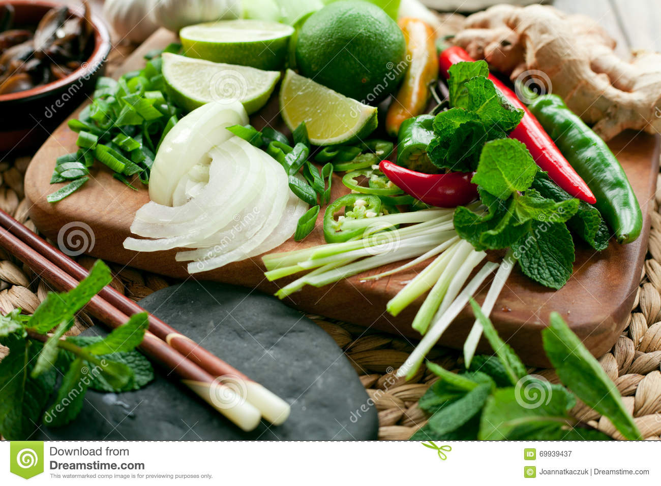 Vietnamese food ingredients colorful board stock photo for Asian cuisine ingredients