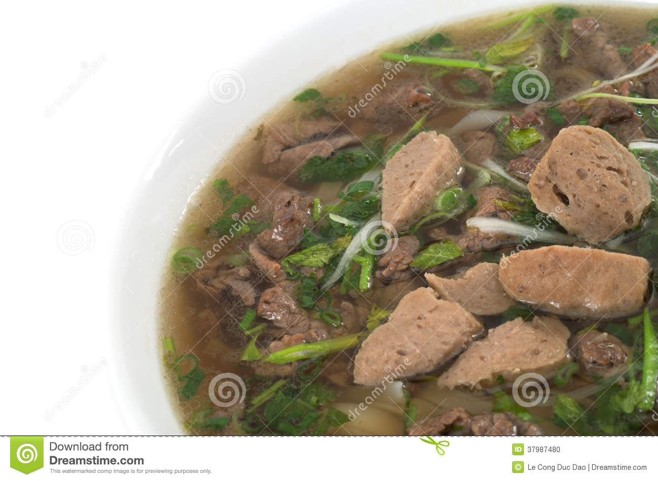 Vietnamese food , rice noodle soup with sliced sauteed beef and meat ...