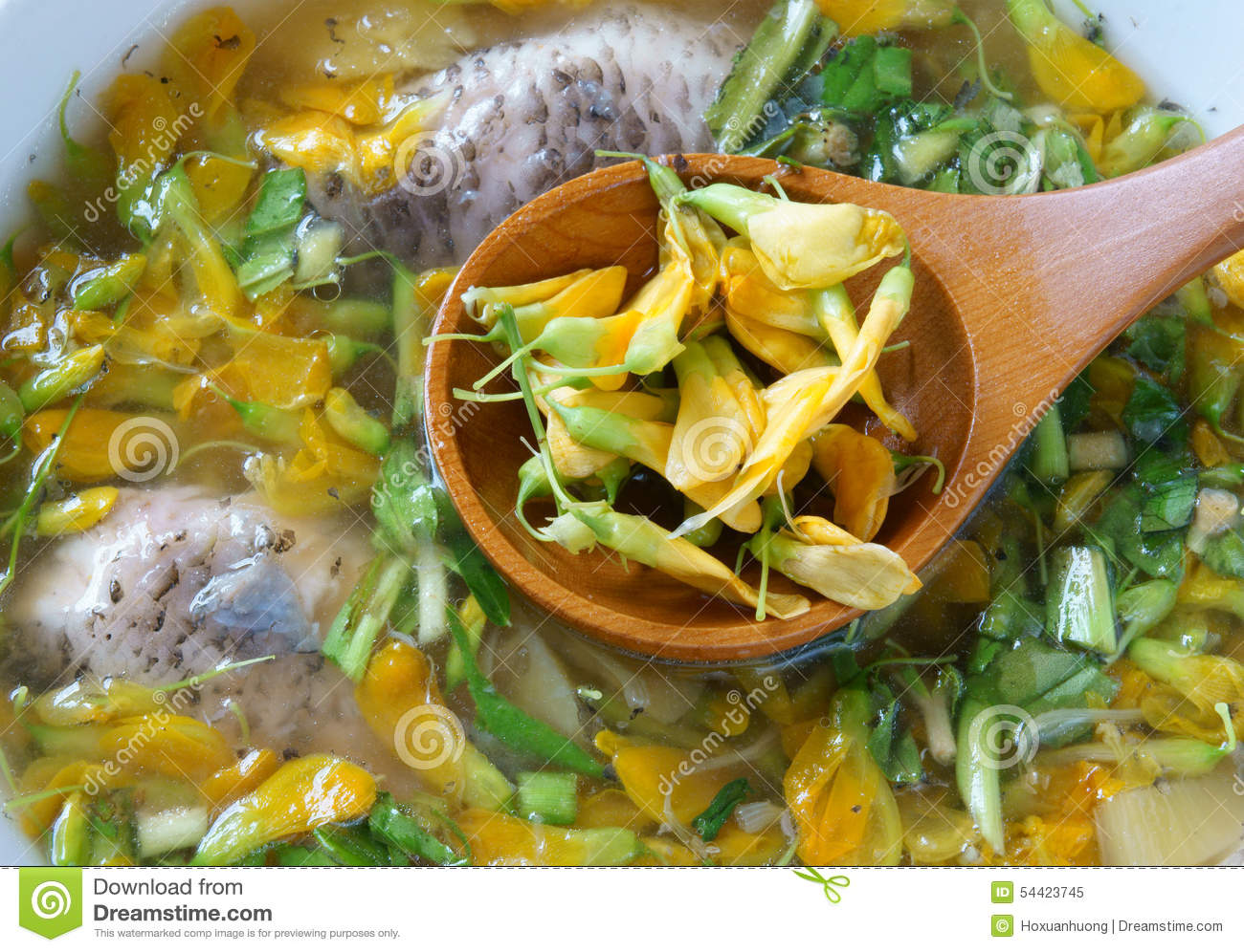 Vietnamese food sour fish vegetable soup stock photo for Fish and veggie diet
