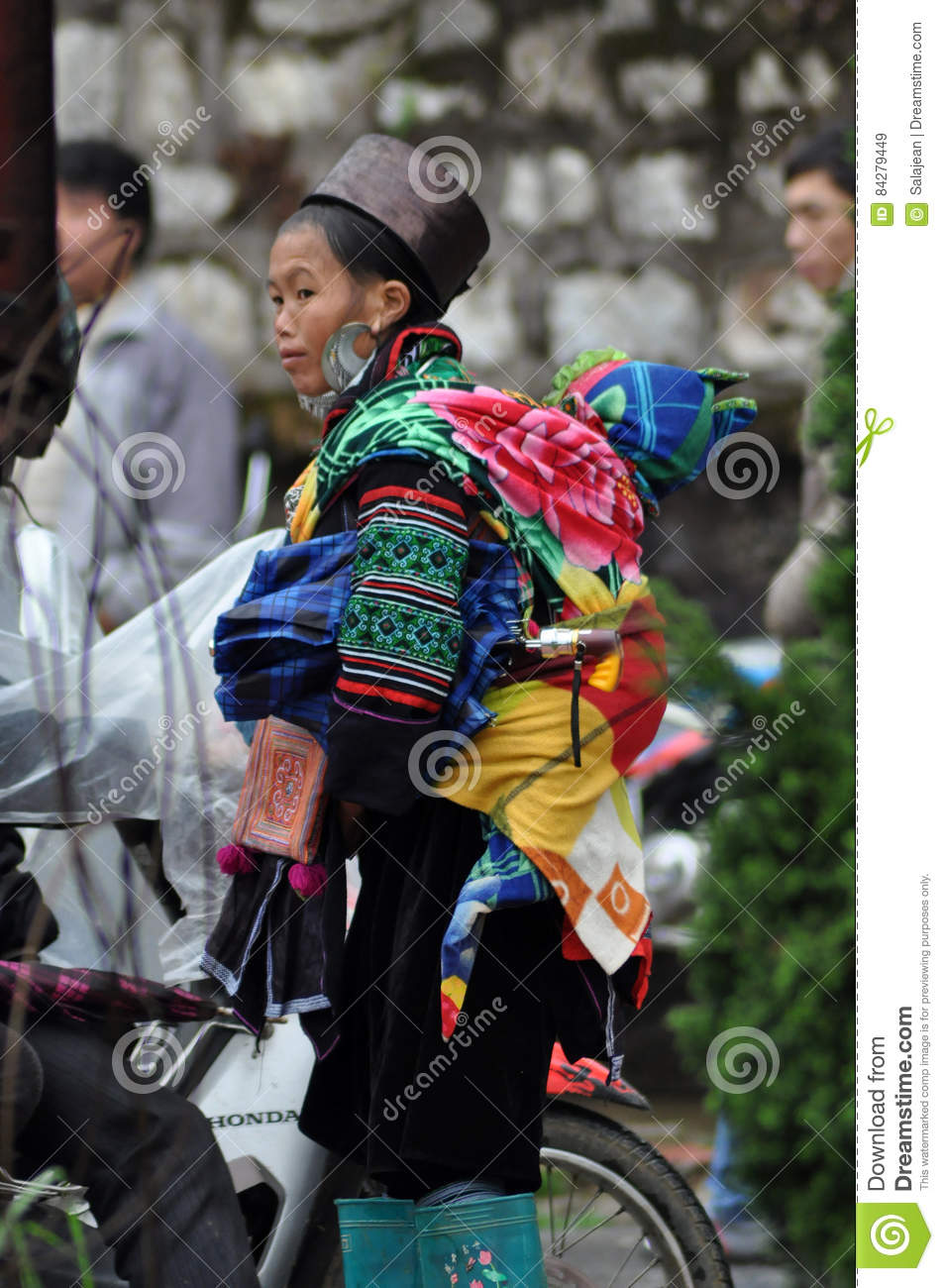 Vietnamese Hmong Woman Carrying Her Child Editorial Photo