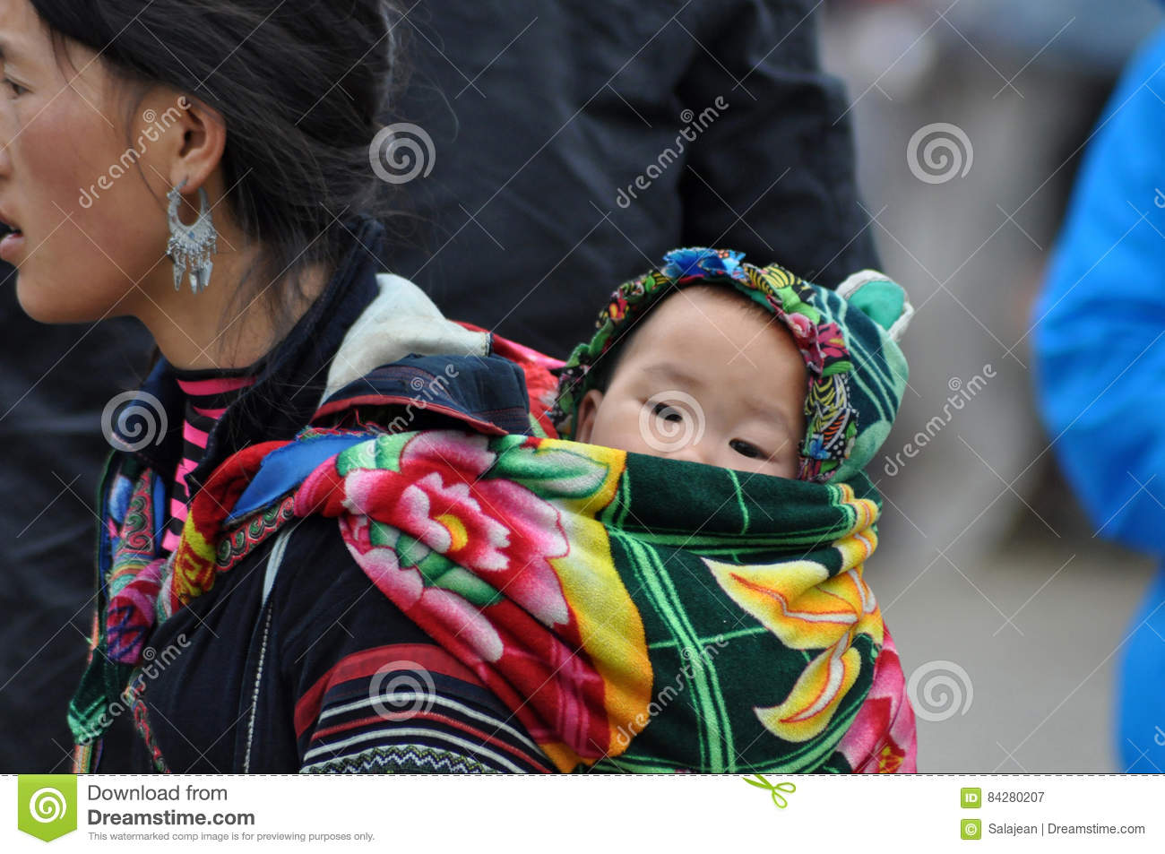 Vietnamese H Mong Woman Carrying Her Child Editorial Image